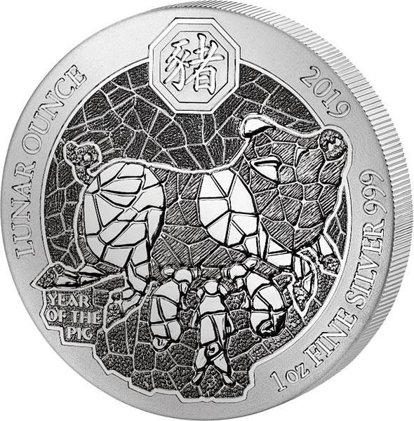 1 Unze Silber Ruanda Jahr des Schweins 2019