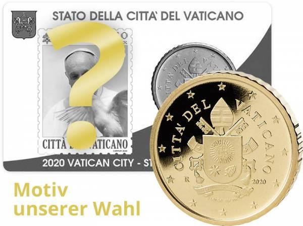 50 Cent Vatikan Stamp und Coincard Papst Franziskus 2020 MuW