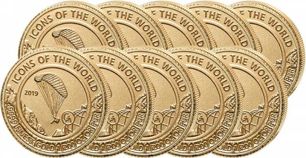 10 x 10 Francs Gold Ruanda Luft bewegt Gleitschirmfliegen 2019