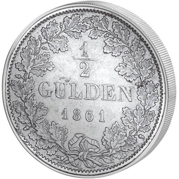 1/2 Gulden Württemberg König Wilhelm I. 1838-1864 Sehr schön