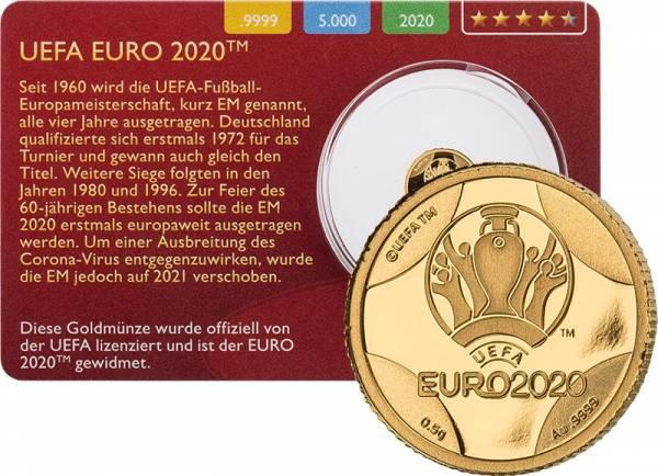 1 Pound Gibraltar UEFA Gold Coin Card 2020