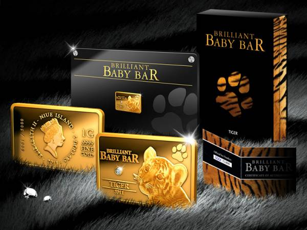 5 Dollars Niue Brilliant Baby Bar Tiger 2011 Polierte Platte
