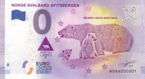 0-Euro-Banknote Norwegen Eisbären Spitzbergen 2019