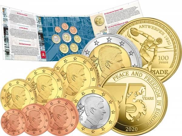 Euro-Kursmünzensatz Belgien 2020 inkl. zwei Gedenkprägungen