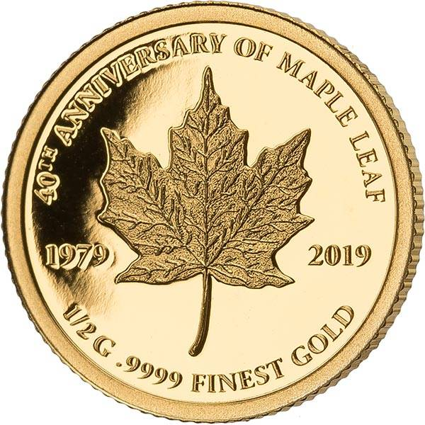 1.000 Francs Gabun 40 Jahre Maple Leaf 2019