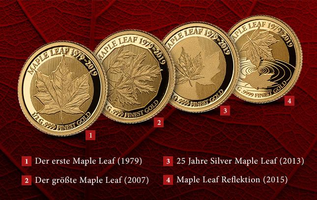 1. Der erste Maple Leaf   2. Der größte Maple Leaf   3. 25 Jahre Silver Maple Leaf  4. Maple Leaf Refelektion