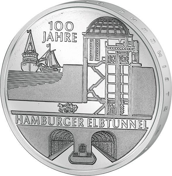 10 Euro BRD 100 Jahre Hamburger Elbtunnel 2011
