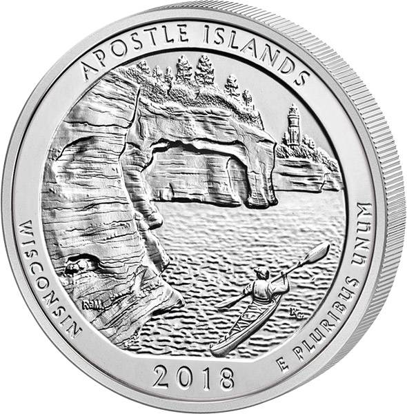 Quarter Dollar 25 Cents USA Wisconsin Apostle Islands National Lakeshore 2018