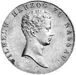 Kronentaler Nassau Silber Wilhelm 1818-25 ss-vz