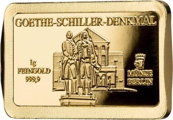 1 Gramm Goldbarren Deutsche Wahrzeichen Goethe-Schiller-Denkmal