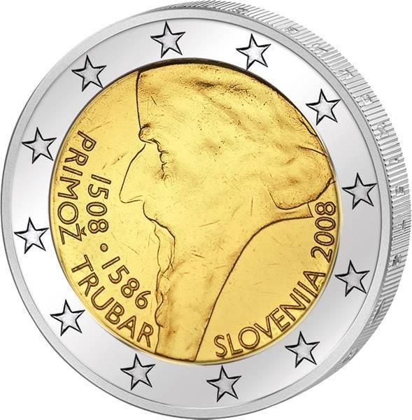 2 Euro Slowenien 500. Geburtstag Primoz Trubar 2008 prägefrisch