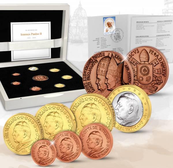 Euro-Kursmünzen Vatikan inklusive Bronzemedaille 2002-2005 Stempelglanz