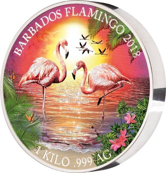25 Dollars Barbados Flamingo mit Glitzer-Applikation