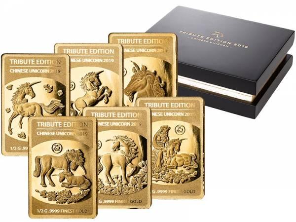 6 x 10 Dollars Salomonen Tribute Edition Chinesisches Einhorn 2019