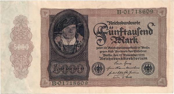 5.000 Mark Deutschland Reichsbanknote 1922