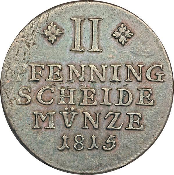2 Pfenning Braunschweig Herzog Friedrich Wilhelm 1814-1815