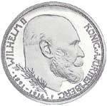 3 Mark Würemberg 25 Jahre Regierungsjubiläum Wilhelm II. 1916 NP Polierte Platte