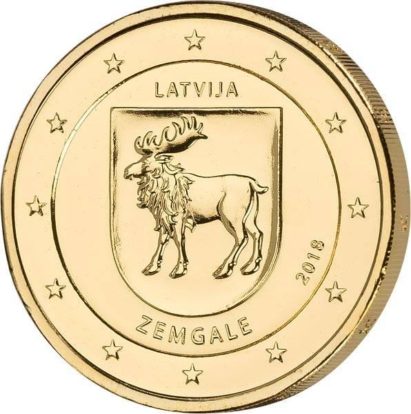 2 Euro Lettland Region Semgallen 2018 vollvergoldet
