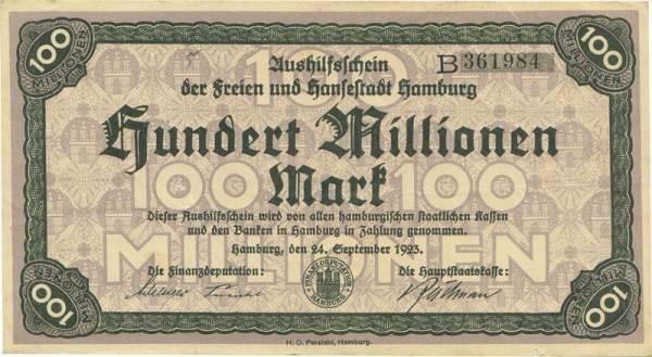 100 Millionen Mark Hansestadt Hamburg 1923