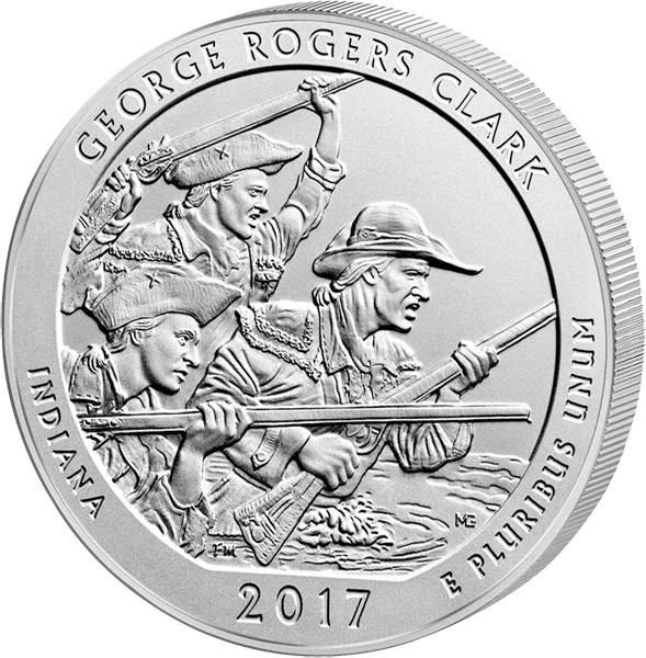 Quarter Dollar 25 Cents USA Indiana George Rogers Clark 2017
