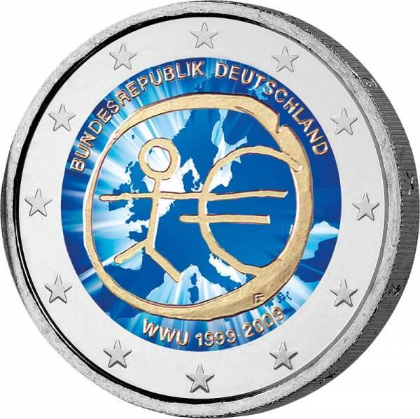 2 Euro BRD 10 Jahre Wirtschafts- und Währungsunion 2009 mit Farb-Applikation