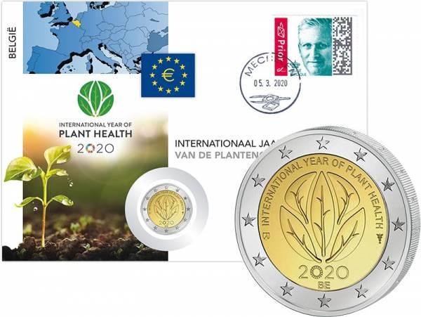 2 Euro Numisbrief Belgien Interantionales Jahr der Pflanzengesundheit 2020