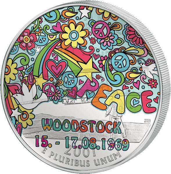 Quarter-Dollar USA mit Farb-Applikation 45 Jahre Woodstock 2014 prägefrisch