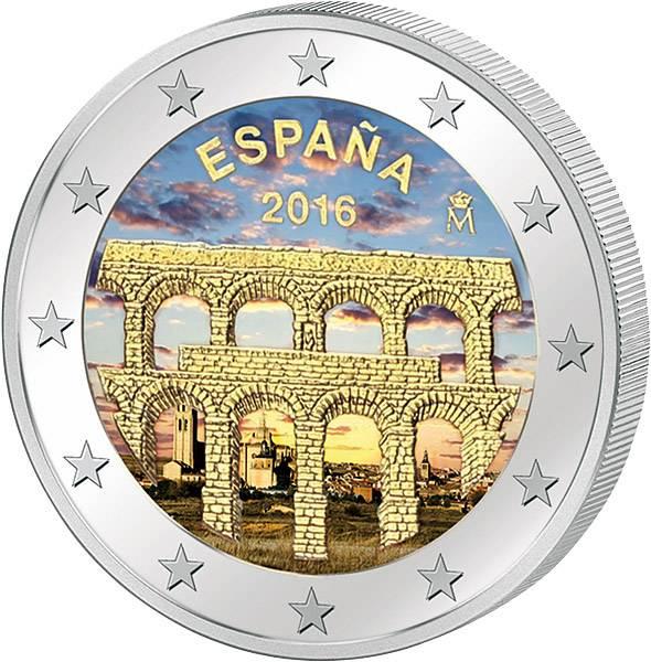 2 Euro Spanien Unesco-Welterbe Aquädukt von Segovia mit Farb-Applikation