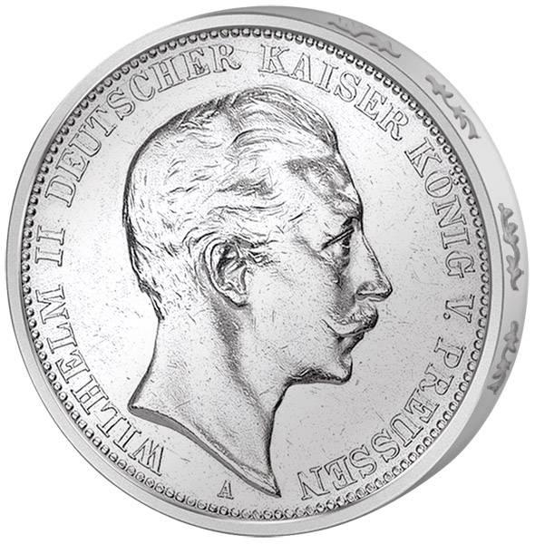 5 Mark Preußen Wilhelm II. 1907 Sehr schön