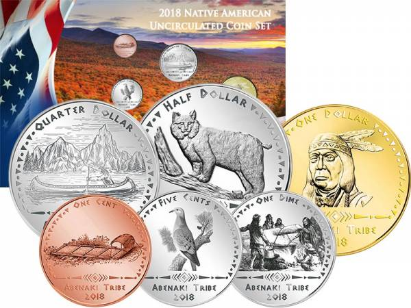 1 Cent - 1 Dollar USA Kursmünzen der Abenaki 2018