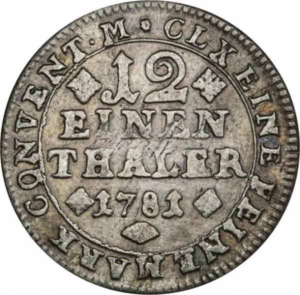 1/12 Taler Braunschweig Wolfenbüttel Ross 1780-1806
