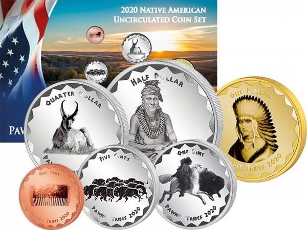 1 Cent - 1 Dollar Kursmünzensatz USA Kursmünzen der Pawnee 2020