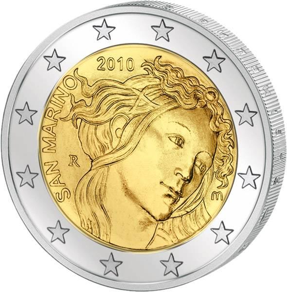2 Euro San Marino 500. Todestag von Sandro Botticelli 2010 Stempelglanz