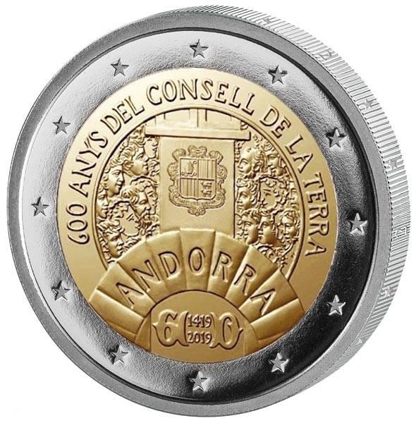 2 Euro Andorra 600. Jahrestag des Consell de la Terra 2019