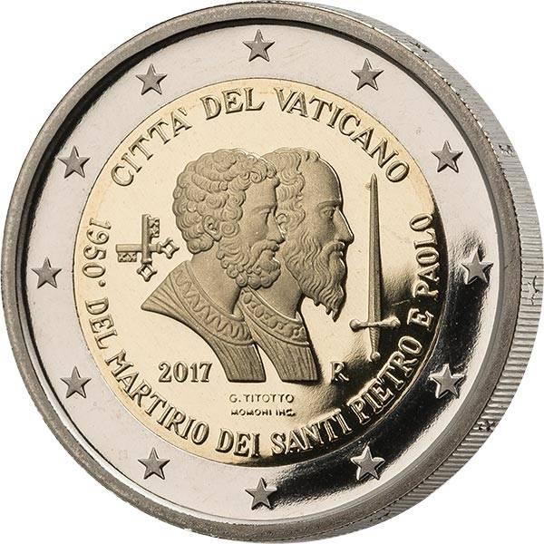 2 Euro Vatikan Ersttagsedition 1950. Jahrestag des Martyriums von Sankt Peter & Sankt Paulus 2017