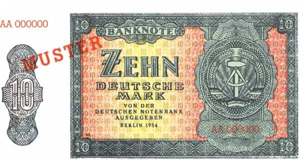 10 Mark DDR Muster-Banknote 1954