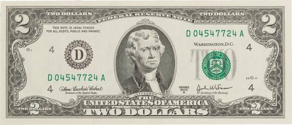 2 Dollars USA Banknote Thomas Jefferson 2003