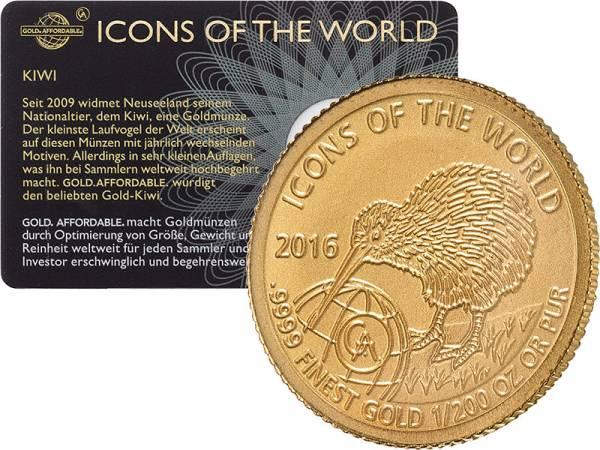 1/200 Unze Gold Ruanda Kiwi 2016