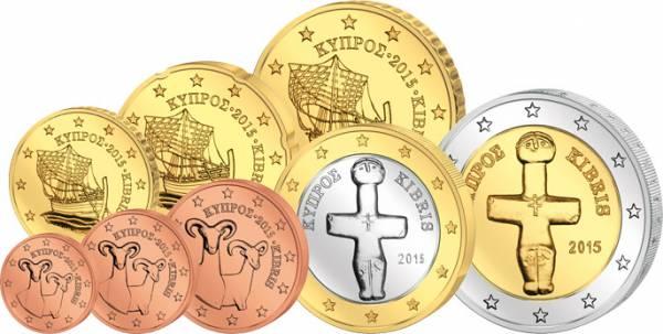 1 Cent - 2 Euro Kursmünzensatz Zypern 2015 prägefrisch