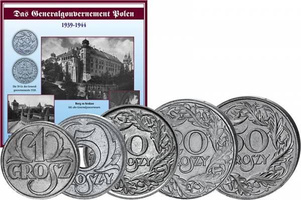 1 Grosz - 50 Groszy Polen Kursmünzensatz 1939-1944