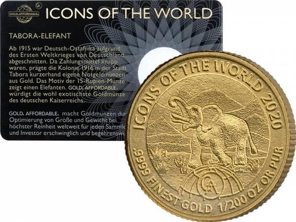 1/200 Unze Gold Ruanda Deutsch-Ostafrika Elefant 2020