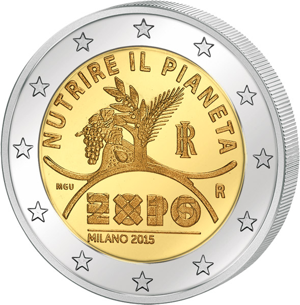 2 Euro Italien Expo In Mailand 2015 Italien 2 Euro Gedenkmünzen