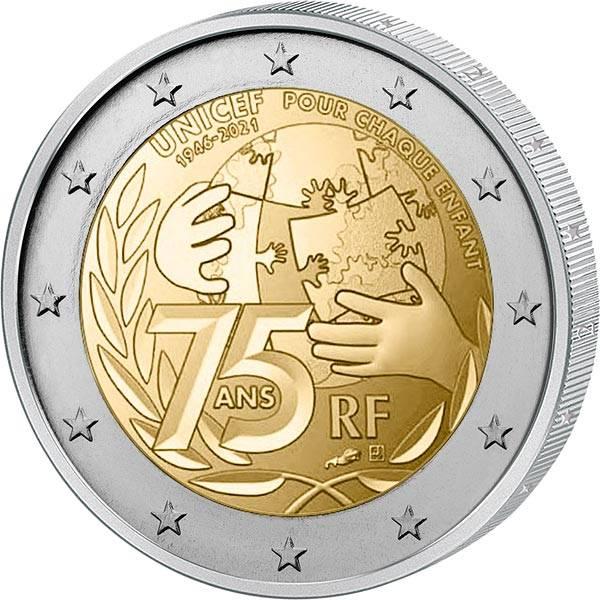 2 Euro Frankreich 75 Jahre UNICEF 2021