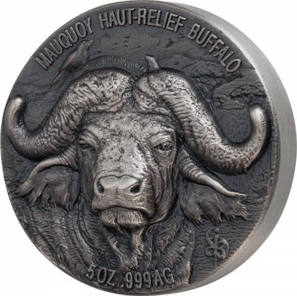 5 Unzen Silber Elfenbeinküste Mauquoy Hoch-Relief Büffel 2020