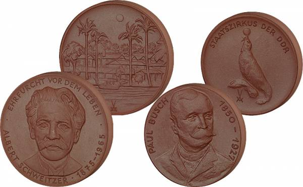DDR Steinzeug-Medaille Meißen Albert Schweitzer und  Staatszirkus ss-vz
