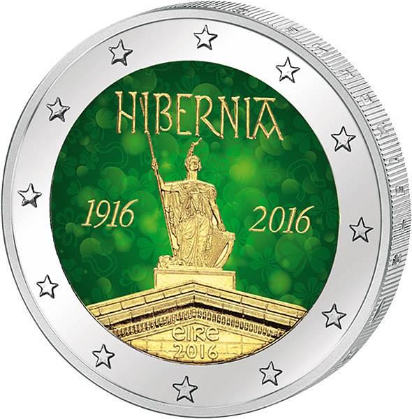 2 Euro Irland 100 Jahre Osteraufstand 1916 Mit Farb Applikation 2016