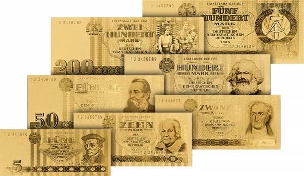 5 - 500 Mark DDR Goldfolien-Banknoten
