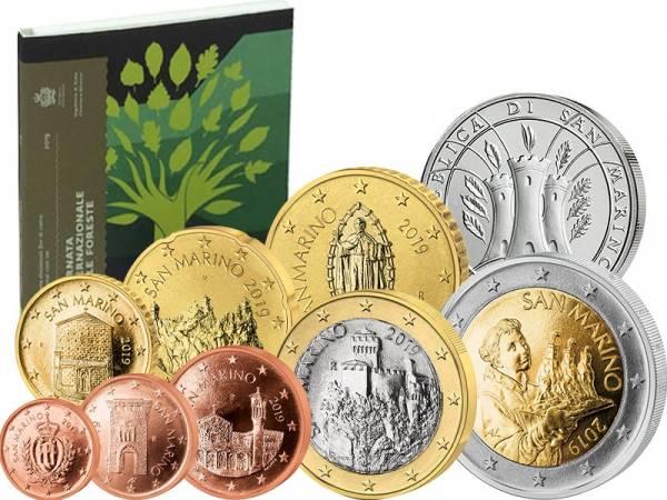 Euro-Kursmünzensatz San Marino 2019 mit 5 Euro Internationaler Tag der Wälder 2019