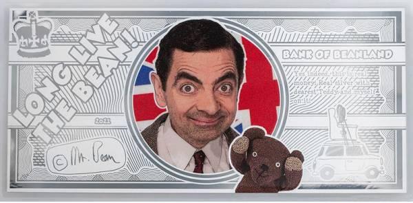 1 Dollar Cook-Inseln Silber-Banknote Mr. Bean - Mein liebster Teddy 2021