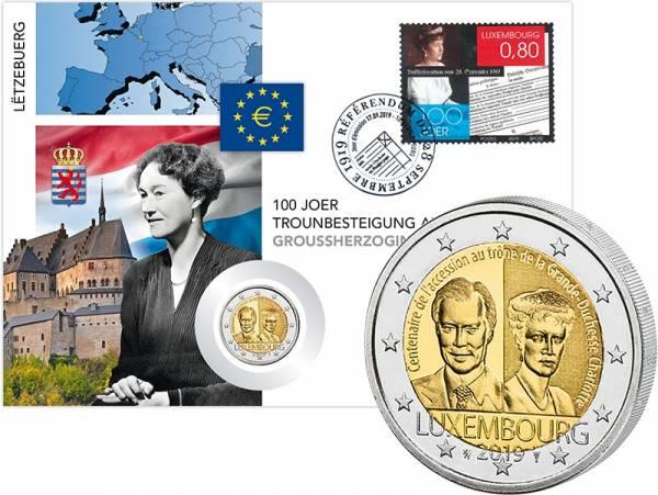 2 Euro Numisbrief Luxemburg 100. Jahrestag der Thronbesteigung von Charlotte 2019